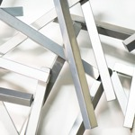 modern abstract powdercoated wall sculpture closeup