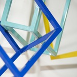 modern abstract powdercoated steel wall sculpture detail