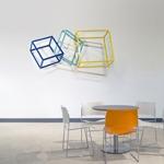 modern abstract powdercoated steel wall sculpture closeup