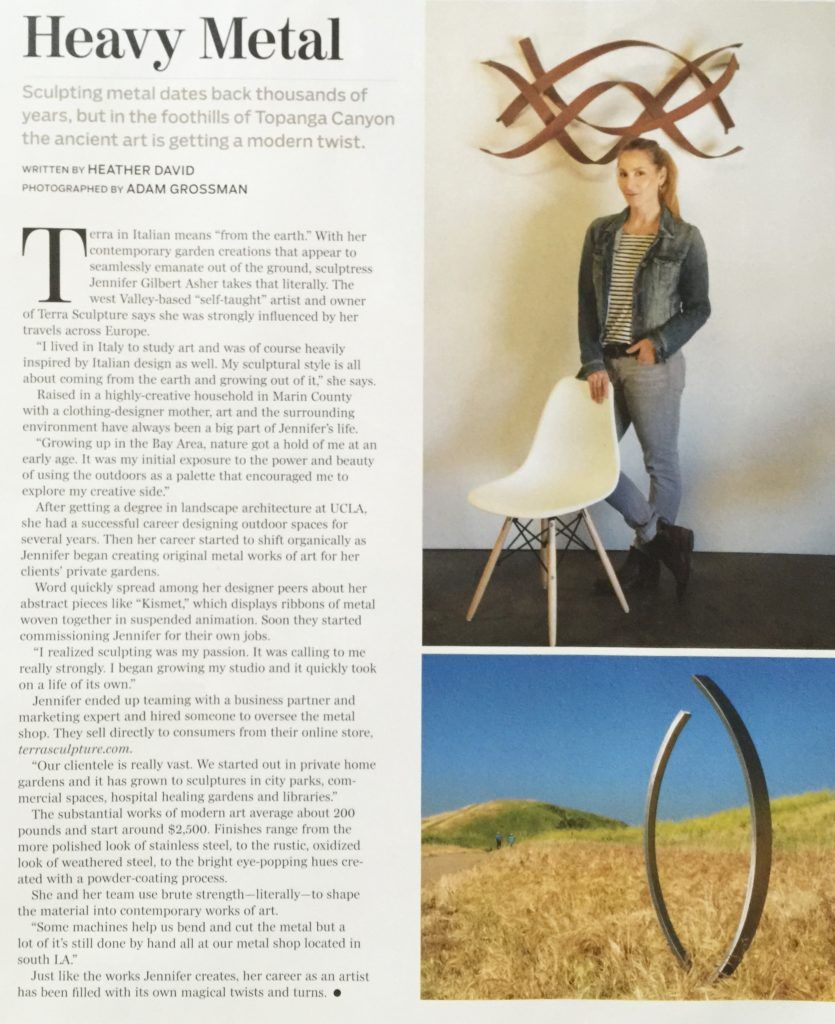 Arts magazine profile Jennifer Gilbert Asher Terra Sculpture