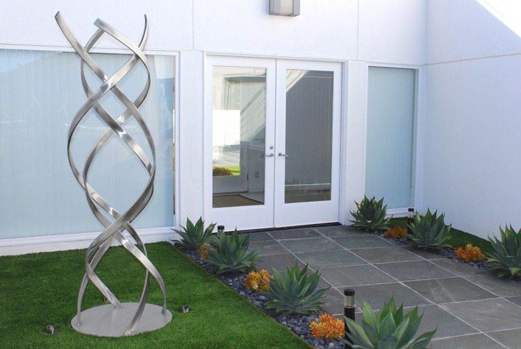 stainless steel modern outdoor sculpture
