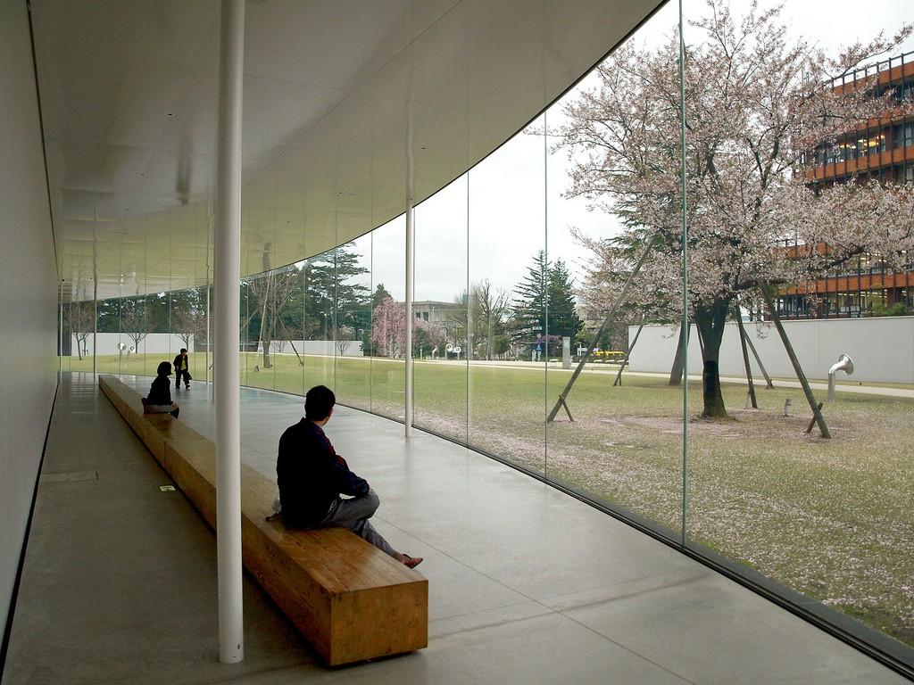 Modern abstract outdoor scultpure 21st Century Museum of Contemporary Art, Kanazawa