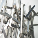 modern abstract powdercoated wall sculpture detail