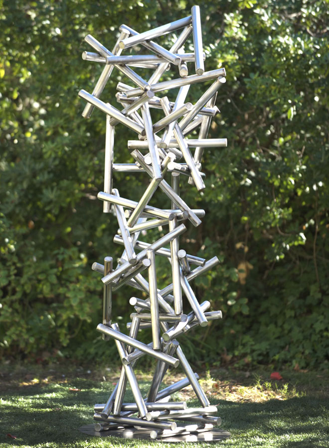 Gravity modern metal garden sculpture by Terra Sculpture.
